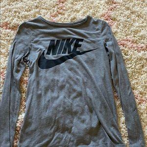 grey nike logo long sleeve